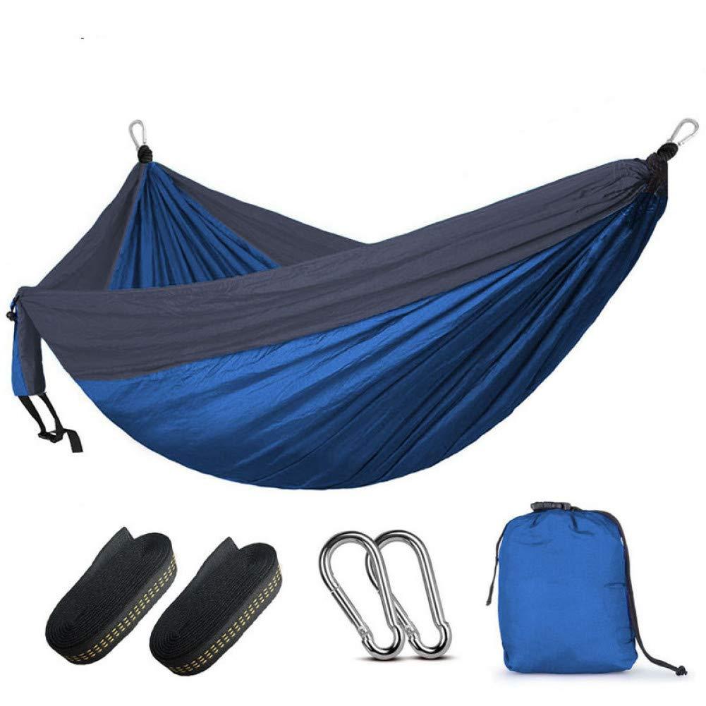 Bleu et gris foncé  DCKJL Hamac Camping Parachute Hamac Survie Jardin en Plein Air Meubles en Plein Air Loisirs Dormir Hamaca Voyage Double Hamac 300  200 cm