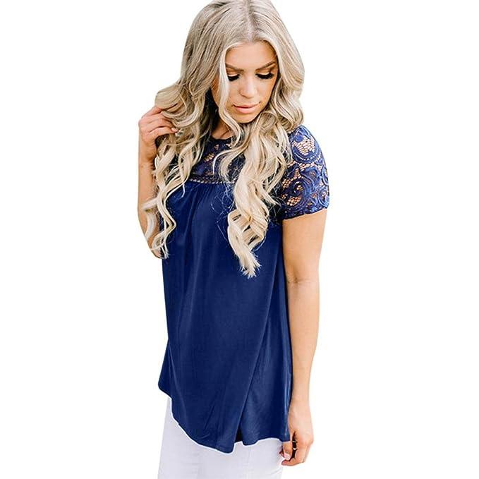 Chaleco de Encaje Parte Superior Blusa Casual Camisetas sin Mangas Camisetas Mujer Cremallera Manga Corta Blusas