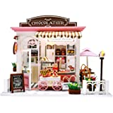 TODY Miniature Dollhouse Kit DIY Dollhouse Wooden Miniature Furniture Kit Mini Pink Chocolate Store with LED Light Sweet Birt