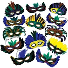 1 Dozen Fantasy Feather Masks 12 Assorted Styles, Masquerade Masks for Mardi Gras Party Favors, By 4E's Novelty,