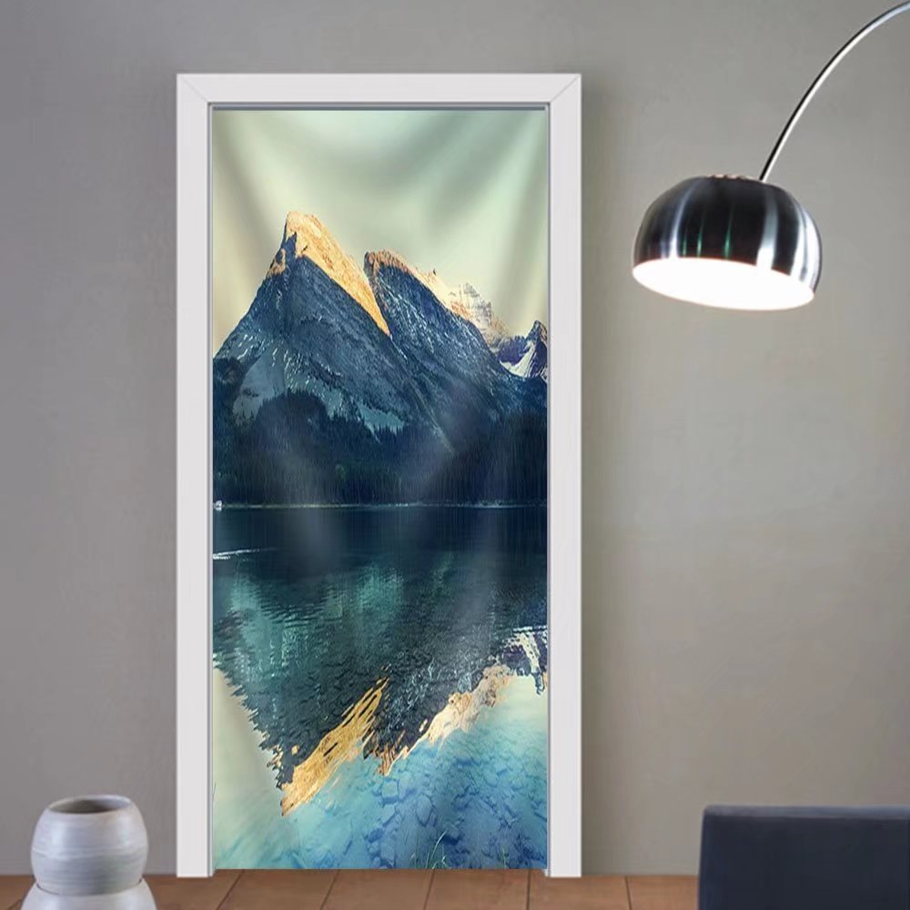 Gzhihine custom made 3d door stickers Bowman Lake in Glacier National Park Montana Usa Fabric Home Decor For Room Decor 30x79