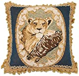 Corona Decor French Woven Jacquard Feather and Down Filled Lion Decorative Pillow