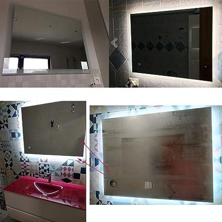 Espejo baño, Espejo baño con luz, Interruptor táctil, Luz Blanca fría, función antivaho, Suspensión Vertical/Horizontal: Amazon.es: Hogar