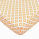 TL Care 100% Cotton Percale Fitted Crib Sheet, Orange Tweedle Tee Tile