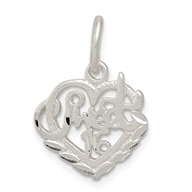 df47be6fe679 Image Unavailable. Image not available for. Color  925 Sterling Silver  Sweet Sixteen Girl 16 Birthday Pendant ...