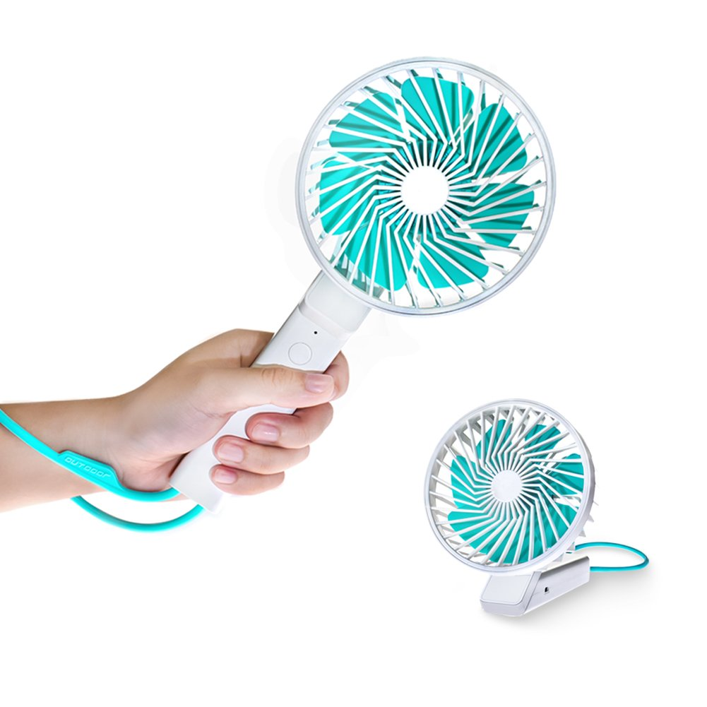 Portable Cooling Fan - Handheld Fan, Portable Folding Fan,USB Rechargeable, Soft Silicone Hand Ring, 3 Speed for Office/Garden/Wedding/Travel/Fishing/Camping Hiking BBQ, White Mini pc Fan