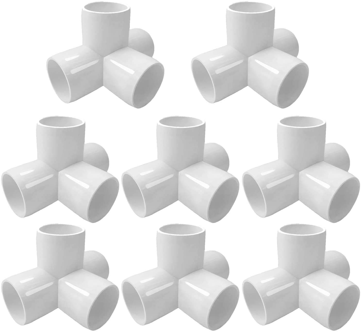 Toolly 4Way 1inch Tee PVC Fitting Elbow 1in - Build Heavy Duty PVC Furniture - PVC Elbow Fittings [Pack of 8]