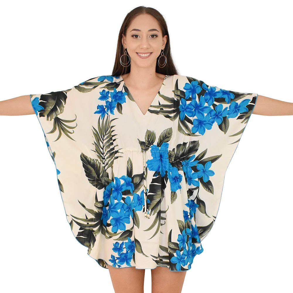 5305fdca2ec5 Island Style Clothing Ladies Poncho Dress Cream & Blue Leaf Floral Hawaiian  Print: Amazon.com.au: Fashion