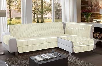 la biancheria di casa Simplicity Plus Angle Copri Salva Divano per divani  ad Angolo (245 cm, Crema)