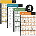 4-Pack Laminated Home Gym Exercise Posters (BODYWEIGHT, Stretching, Resistance, Stability Ball) Build Muscle, Tone and Strengthen Your Entire Body. Large and Easy to Follow Fitness Chart