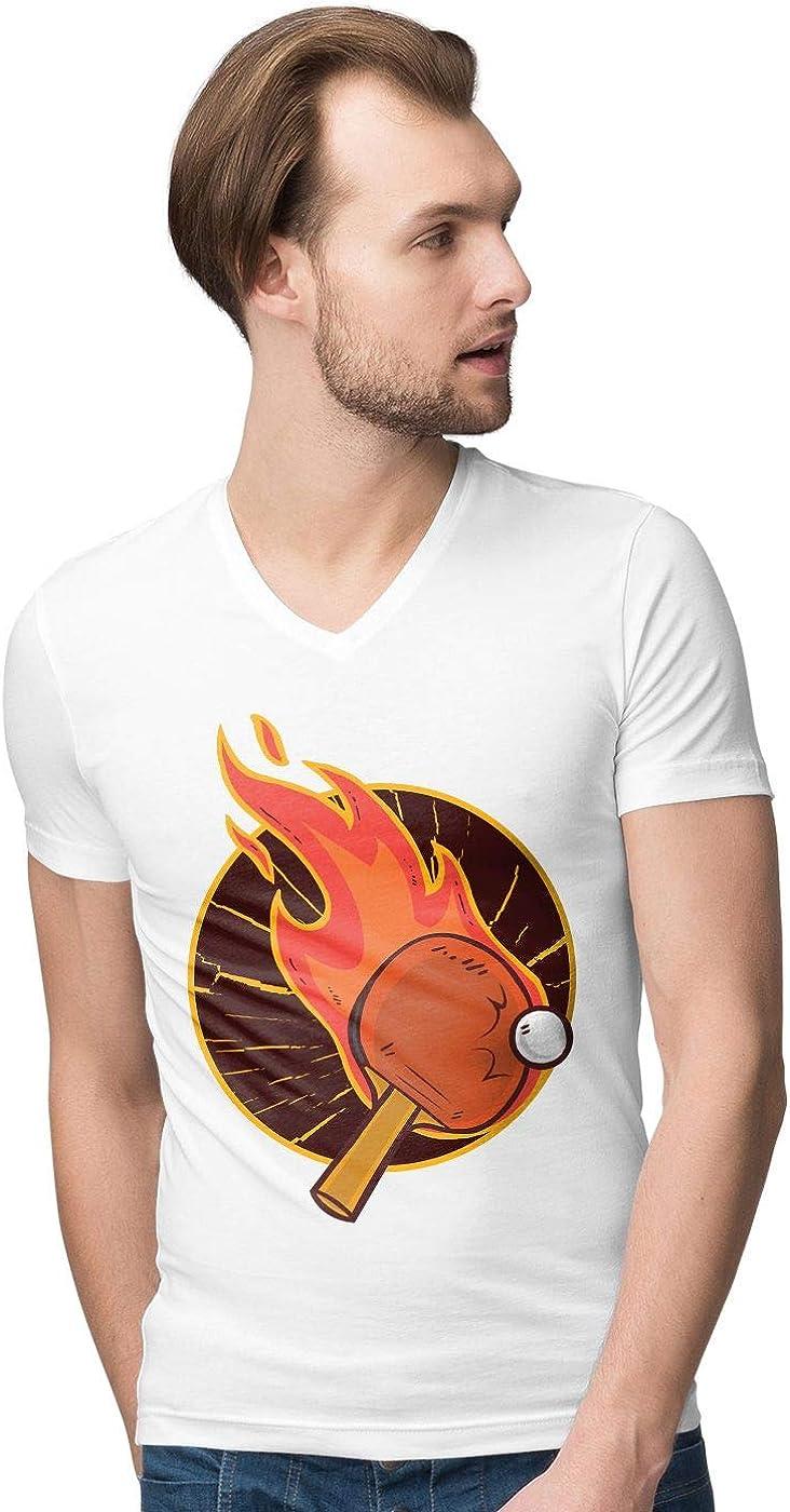 BLAK TEE Hombre Table Tennis aka Ping Pong Camiseta V-Neck