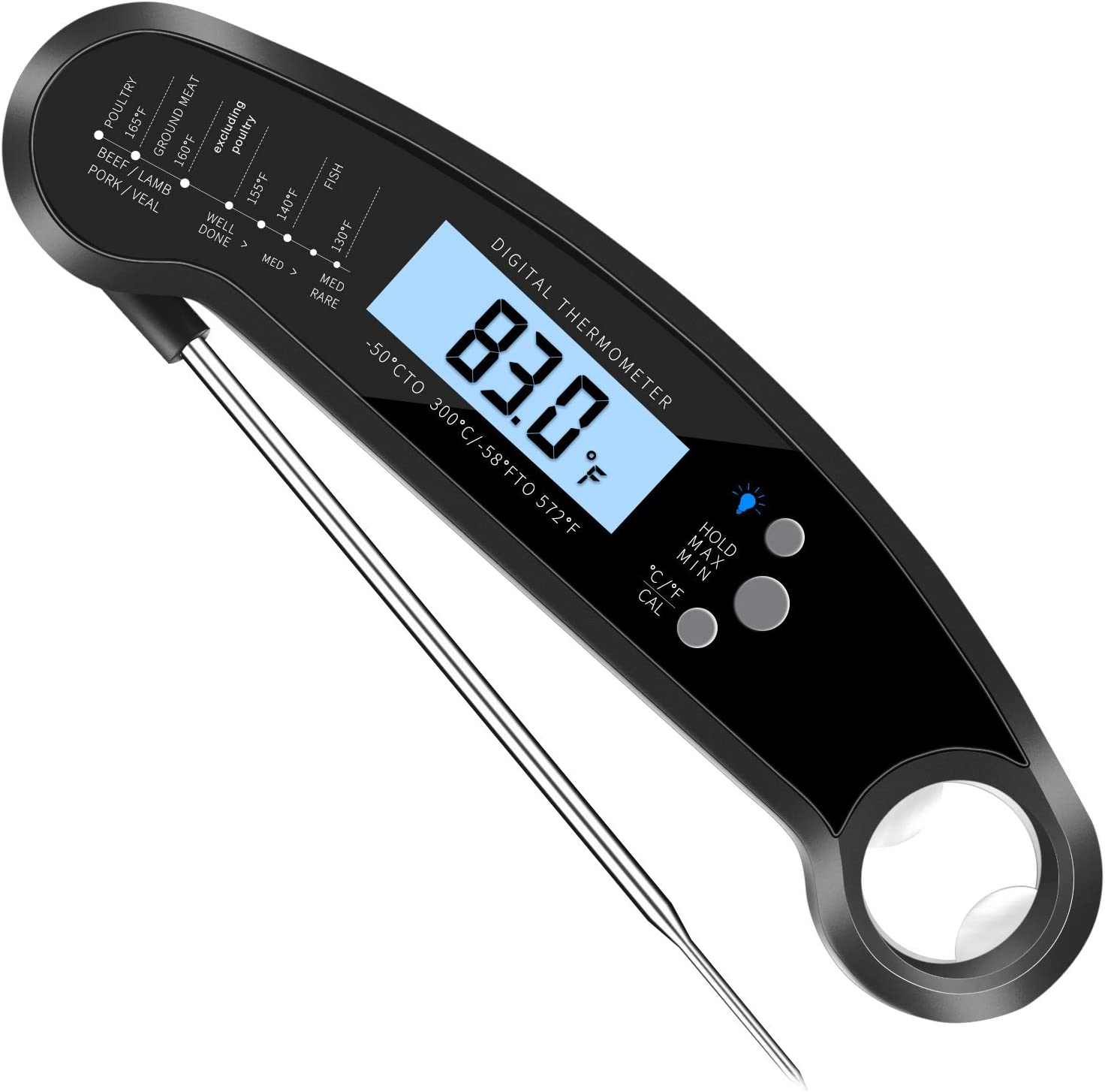 BBQ Thermometer Instant Read Meat Thermometer Turkey Thermometer with Large Backlit LCD Display and Auto-Off Function,Ideal for Kitchen Cooking,BBQ Grill,BBQ Smoker,Oven,Steak,Turkey,Candy(Black)