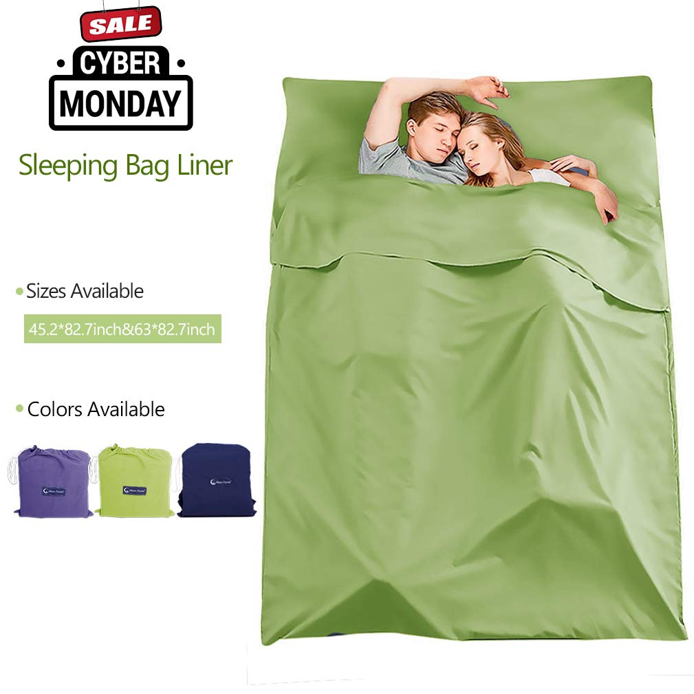 Make you perfect Sleeping Bag Liner Cotton Camping Travel Sheets for Hotels Lightweight Compact Sleeping Sack Sheet for Backpacking,Outdoor,Picnic,Hiking(Green, 45.2 x82.7inch) by Make you perfect