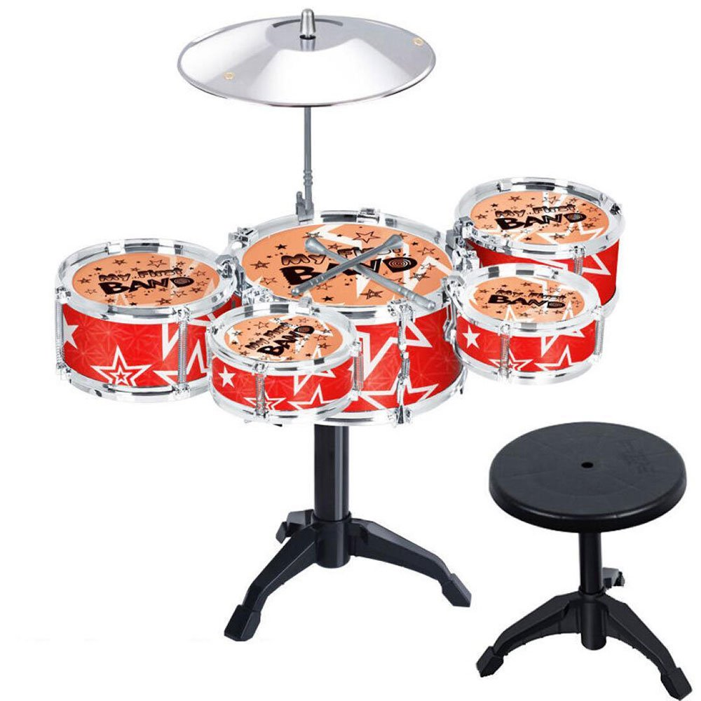 Hicy Desktop Drum Sets for Kids Musical Instrument Toy Playset Rock on Drums,Red