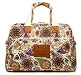 Malirona Canvas Overnight Bag Women Weekender Bag Carry On Travel Duffel Bag Floral (Yellow Flower)