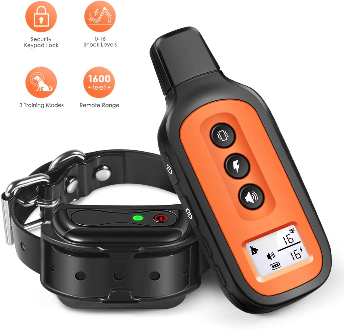 Dog Training Collar, Waterproof and Rechargeable Shock Collar for Dogs w 3 Training Modes, Up to 1600Ft Remote Range, Locking Keypad, Adjustable Collar Strap for All Breeds