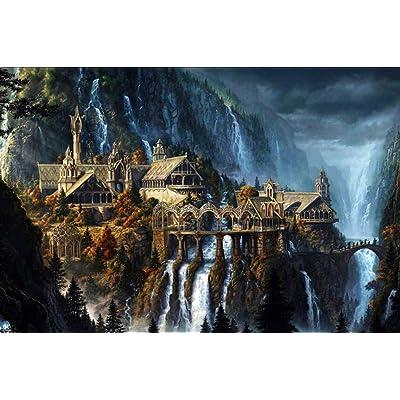Alesxi The Elf Castle Plane 1000 Piezas Puzzle Puzzle Fantasía Paisaje Para Adultos Adolescentes Puzzles Juguetes: Hogar