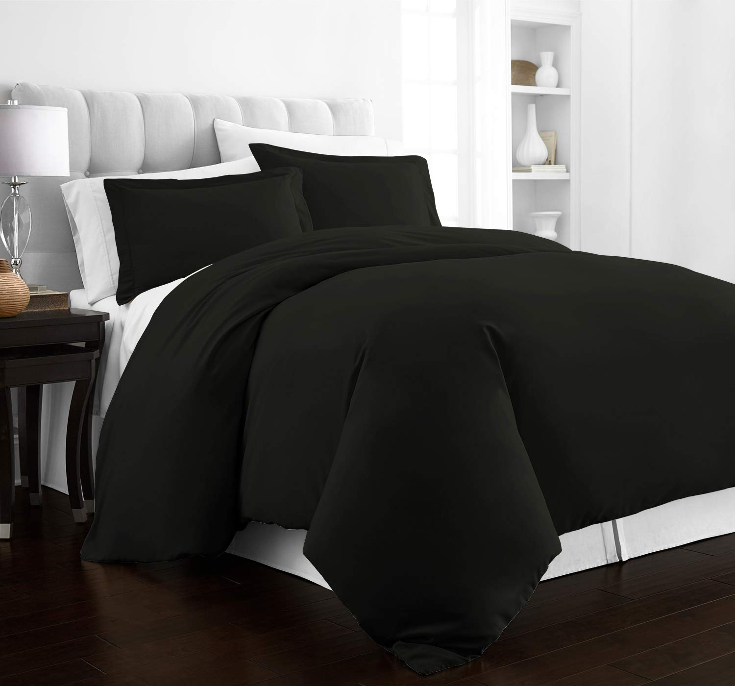 Beckham Hotel Collection Luxury Soft Brushed 2100 Series Microfiber Duvet Cover Set - Hypoallergenic - Full/Queen - Black
