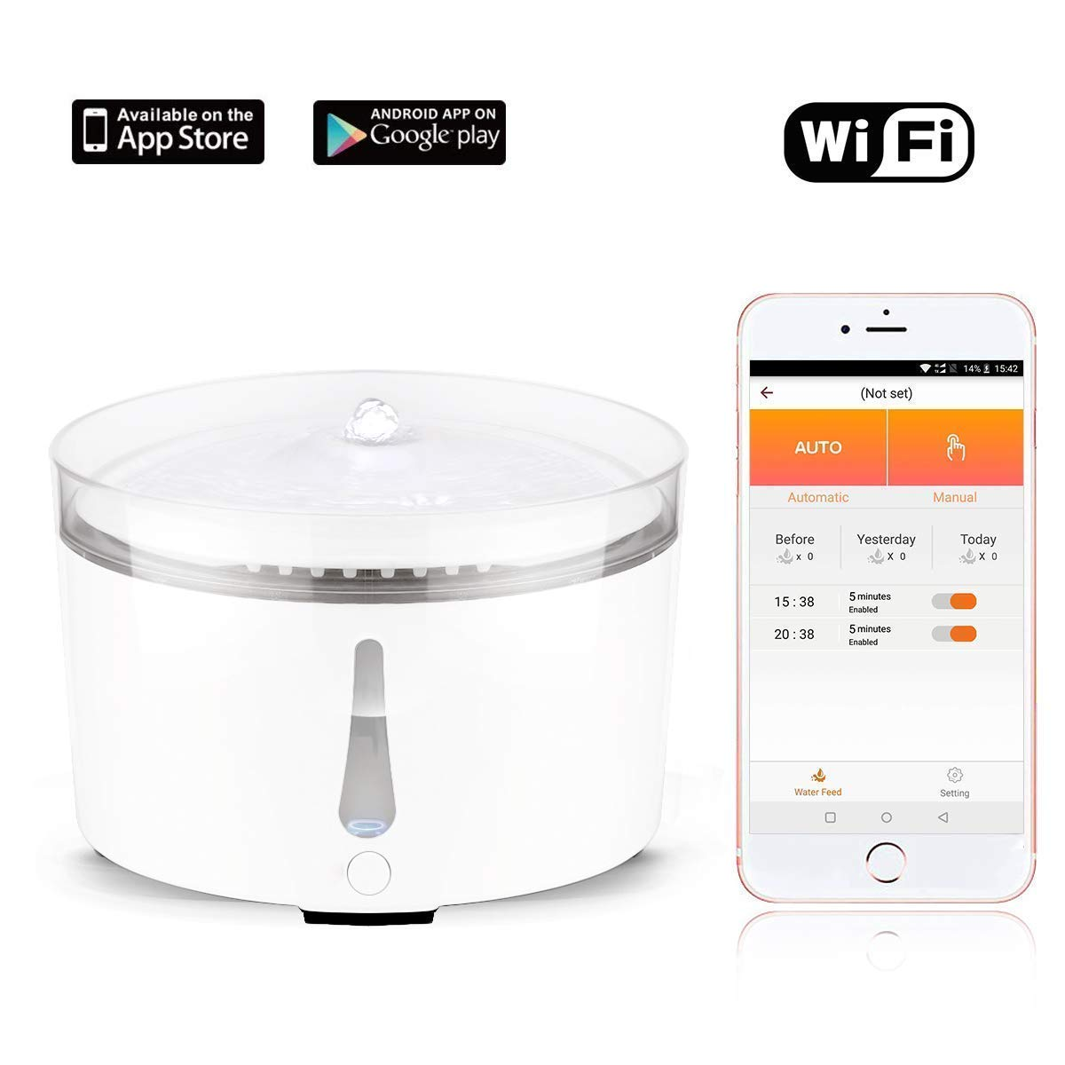 Uervoton Pet Water Fountain, Smart Automatic Electric Dog Cat m Water Fountain - App Remote Control - Water Shortage Alert - Water Level Monitor, 100oz (Fountain) ...