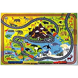 "KC CUBS Playtime Collection Animal Safari Road Map Educational Learning and Game Area Rug Carpet for Kids and Children Bedrooms and Playroom (5' 0"" x 6' 6"")"