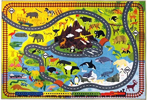 KC CUBS Playtime Collection Animal Safari Road Map Educational Learning and Game Area Rug Carpet for Kids and Children Bedrooms and Playroom (5' 0