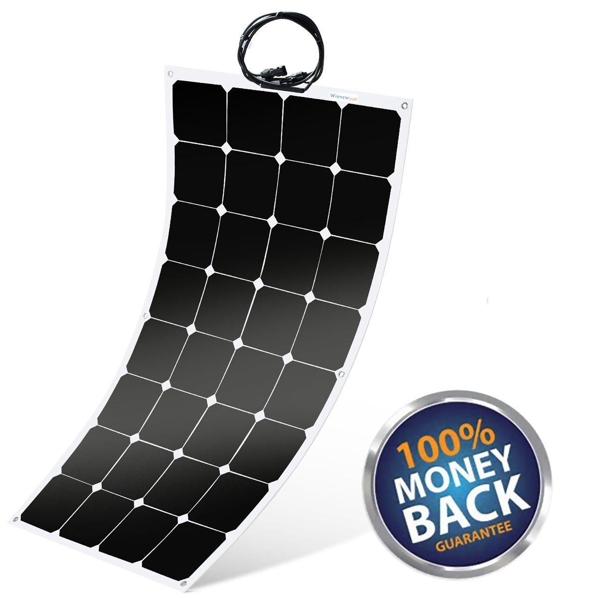 Flexible Solar Panel ,SunPower Solar Panel 100w 18V 12V ,Lightweight Flexible Solar Power Panels for RV Boat Truck Car Van Tent by Winnewsun (Image #8)