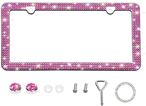Hot Pink 4 Rows 4 Holes Otostar Bling Bling Car License Plate Frame Handmade 8 Facets Rhinestones Stainless Steel License Plate Holder Cover with Screws Caps