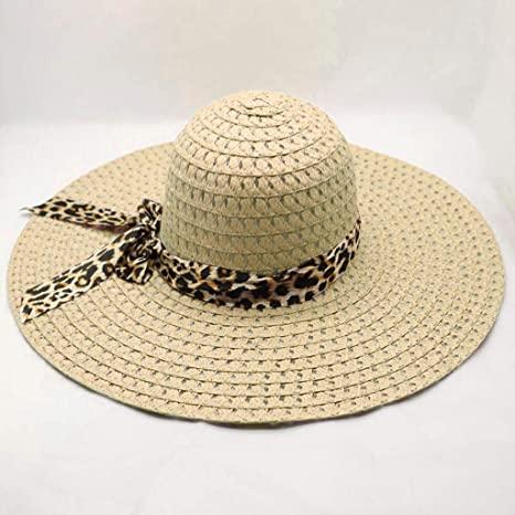 2ff29ced 2019 Summer Hats, QueenMM 🍀Womens Floppy Summer Sun Beach Straw Hat UPF50  Foldable Wide Brim Leopard Straps Beige at Amazon Women's Clothing store:
