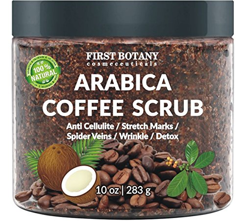 100% Natural Arabica Coffee Scrub with Organic Coffee, Coconut and Shea Butter - Best Acne, Anti Cellulite and Stretch Mark treatment, Spider Vein Therapy for Varicose Veins & Eczema 10 oz best body scrub