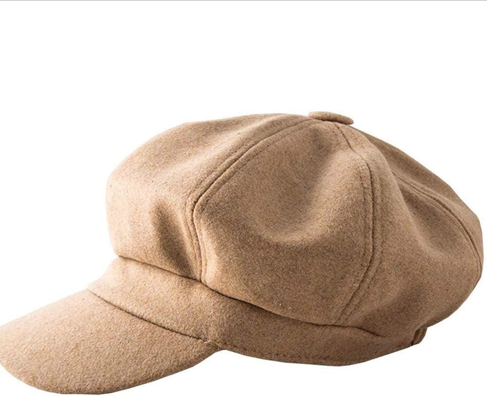 ZHML Sombrero Moda Simple Sombrero Octogonal Mezcla De Lana Gruesa Sombrero Cálido Otoño E Invierno Tendencia Fresca (Color : Brown, Tamaño : Metro)