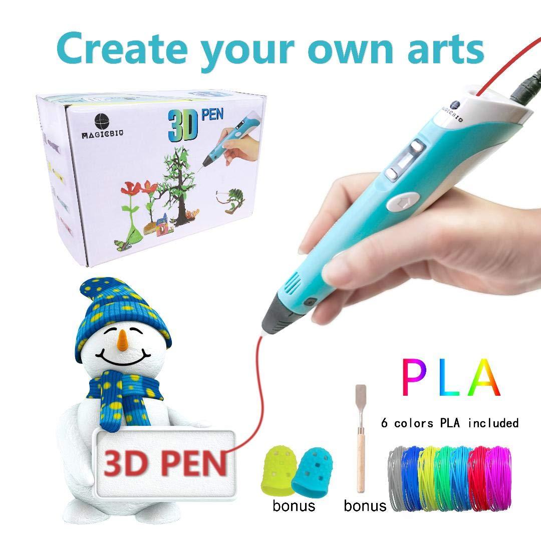 MagicBiu 3D Pen with PLA Filament Refills 3D Drawing Printing Printer Pen Bonus 6 Colors 60 Feet PLA Stencil for Kids and Adults Arts Crafts Model DIY, Compatible with PLA Non-Clogging