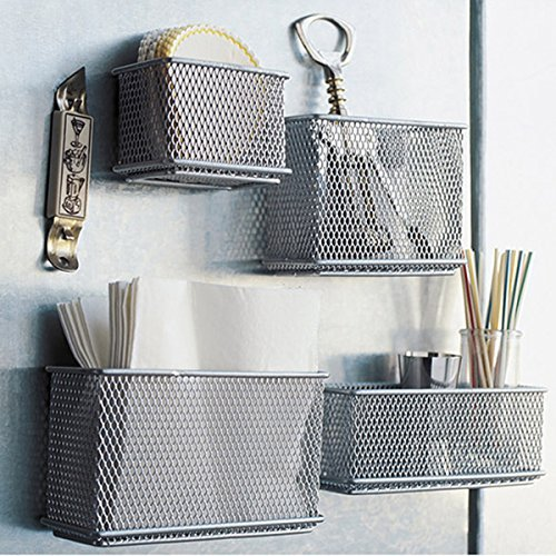 Caveen Magnetic Storage Basket Wire Mesh Tray Caddy Storage Organizer Container for Refrigerator Whiteboard L (Bill Magnet Fridge)