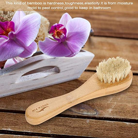 Cepillo de limpieza facial cuerpo ducha cerdas suaves naturales Exfoliante de poros profundos Exfoliante facial cepillo cara madera: Amazon.es: Belleza