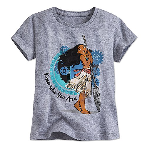 "Disney Moana Tee for Girls - ""Know Who Your Are"" Quote Gray 456211807929"