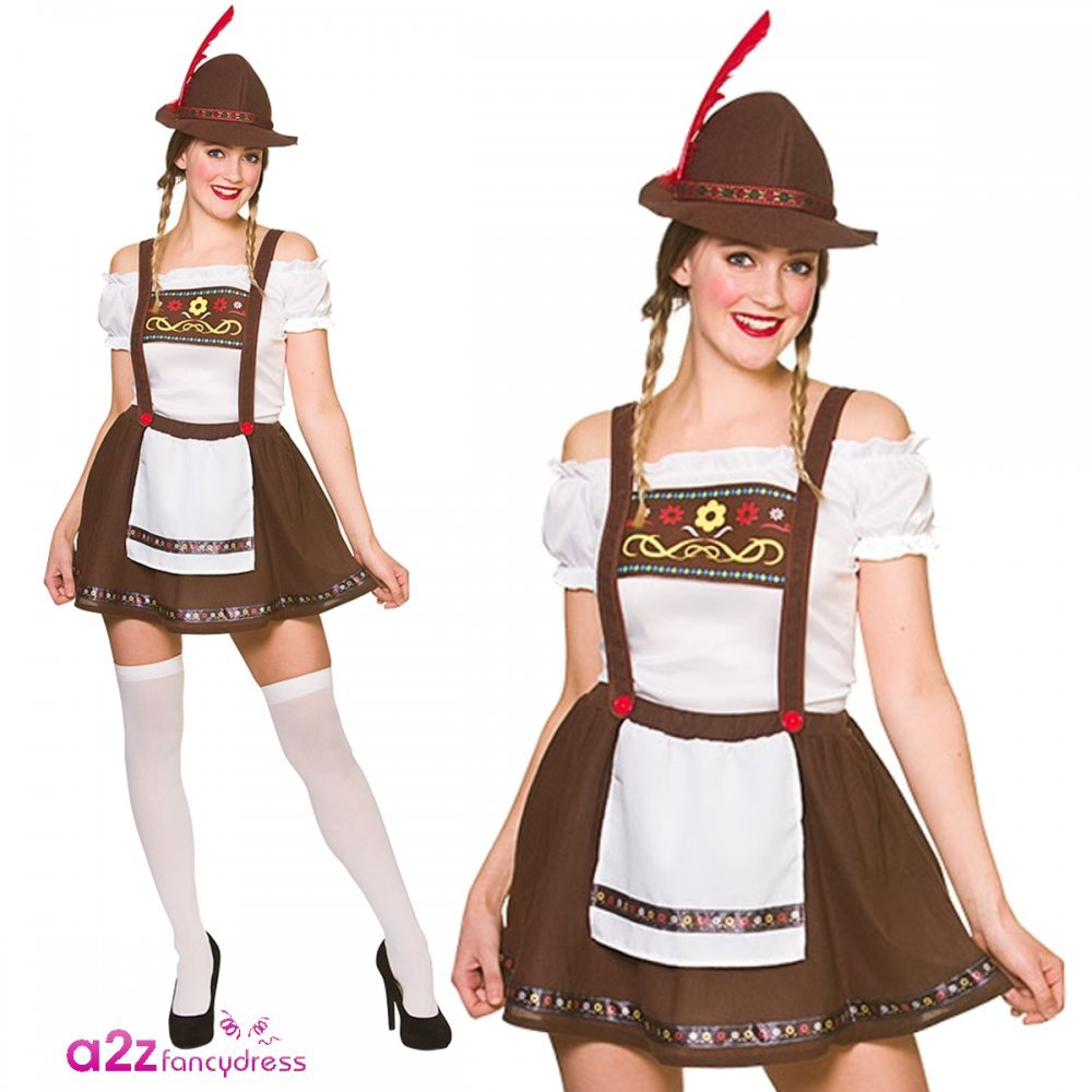 Adult Ladies Bavarian Oktoberfest Beer Maid Fancy Dress Costume L ...