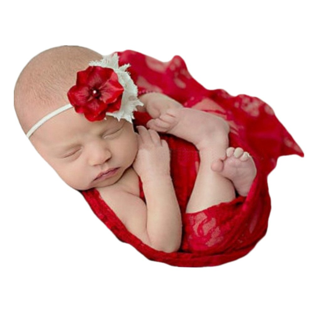Newborn Baby Photo Props Blanket Swaddle Lace Wrap for Boy Girls Photography Shoot