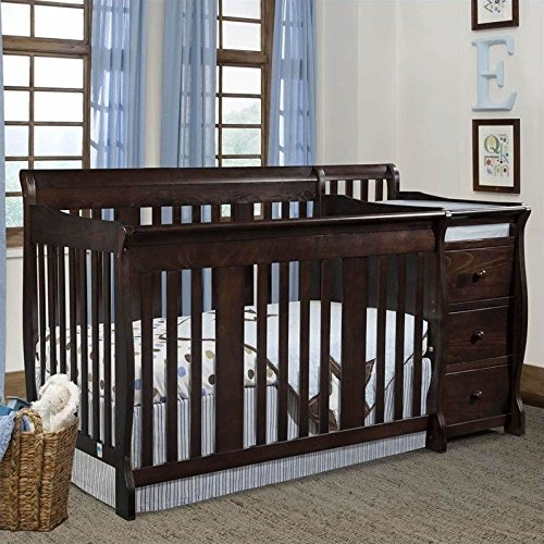 Stork Craft Portofino 4-in-1 Fixed Side Convertible Crib and Changer, (Storkcraft Wood Crib)