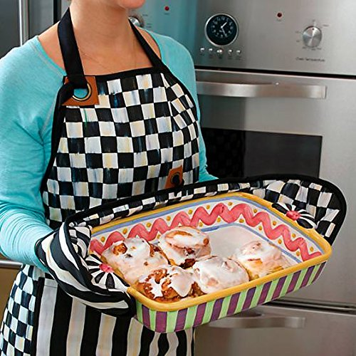 MacKenzie-Childs Cotton Kitchen Pan Holders - Bistro Double Oven Mitt - Black and White Courtly Check Rectangular Pot Holders - 6'' Wide, 29'' Long