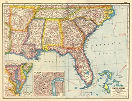 Us Map 1920.Amazon Com Usa Deep South La Ar Ms Al Tn Fl Ge Sc Nc New Orleans