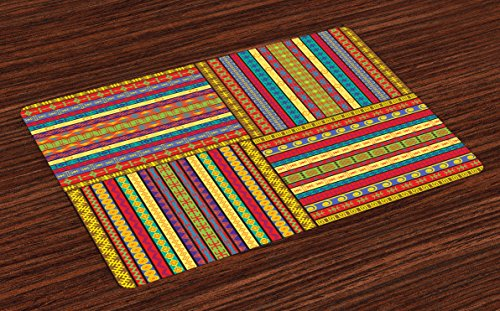 Ambesonne African Place Mats Set of 4, Borders Pattern Old Fashioned Culture Theme Colorful Print, Washable Fabric Placemats for Dining Room Kitchen Table Decor, Yellow Red (Dining Fashioned Old Room)