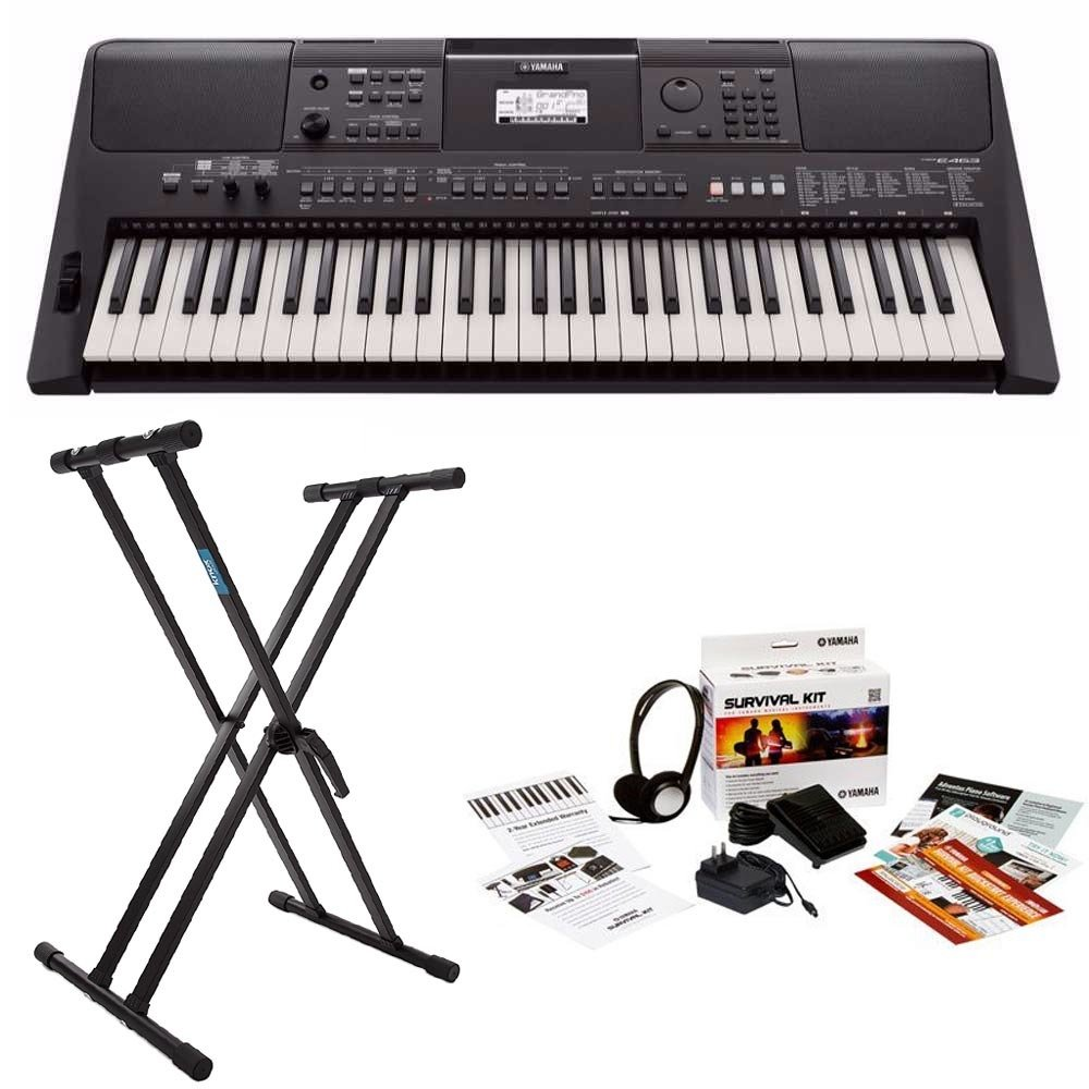 Yamaha PSRE463 61-key high-level Portable Keyboard with Knox Double X Stand and Survival Kit by YAMAHA