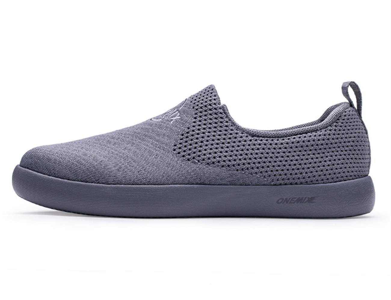 ONEMIX Men's Slip On Sneakers,Summer Breathable Lightweight No Tie Casual Walking Shoes,Grey,Size 11