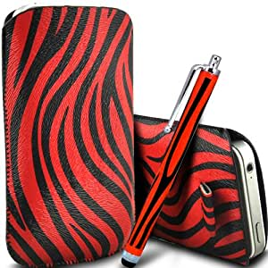 ONX3 Huawei Ascend y300 protección Zebra PU Leather Slip Tire Cord En la bolsa del lanzamiento rápido con Mini capacitivo Stylus Pen (Rojo y Negro)