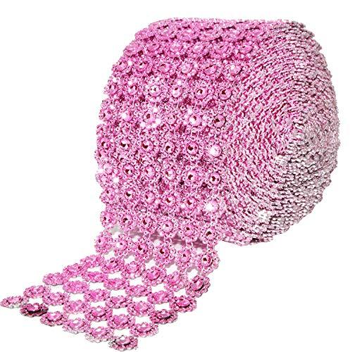 Colorful Bright Assorted Colors Diamond Flower Shape Mesh Wrap Roll Faux Rhinestone Crystal Ribbon 4