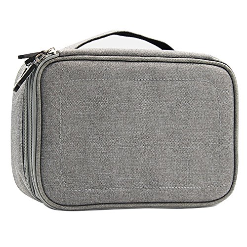 Double Layer Travel Universal Cable Organizer Cases Electronics Accessories Storage Bag for Various USB, Mouse, Earphone,Cable and Charger #81429 (Grey) by Beststar