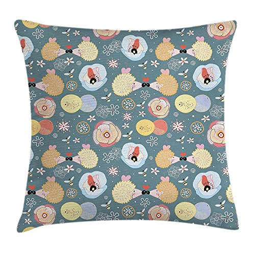 (Kids Throw Pillow Cushion Cover, Cute Hedgehogs Kissing Hearts Love Bees Flowers Cheerful Happy Baby Artwork Image, Decorative Square Accent Pillow Case, 18 X 18 inches,)