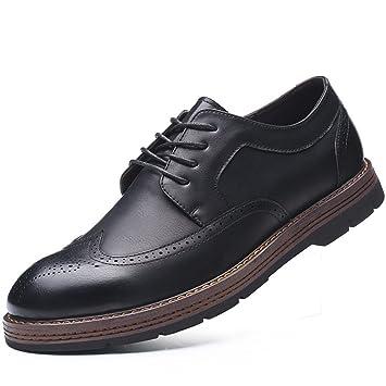 fgmjgk Männer Lederschuhe, Englisch Geschnitzte Männer Schuhe, Casual  Business - Schuhe,Schwarz, 914e542ed8