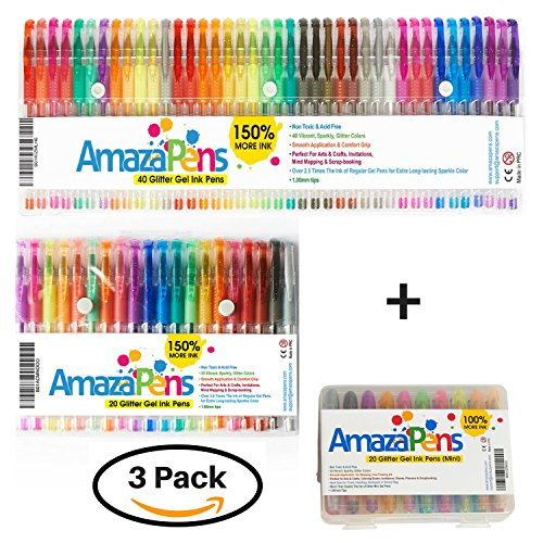 Best Occasions Invitation Kit (Ultimate Glitter Gel Pens Bundle by AmazaPens, For Home, Office and Handbag - 3 sets of Glitter Pens for Every Occasion)