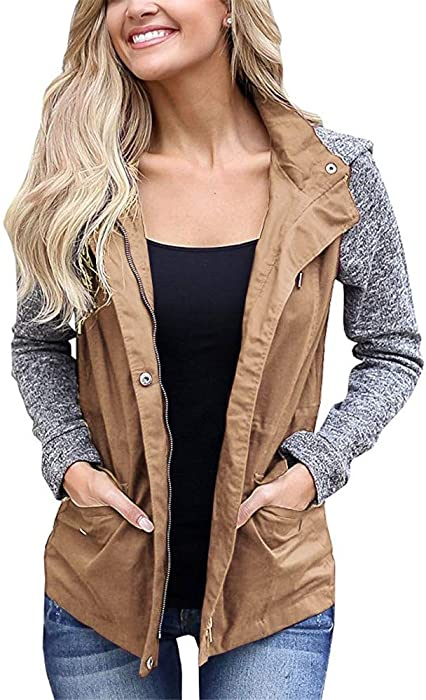365c28d7761 Blanycool Womens Military Anorak Safari Jacket Raglan Sleeve Hooded Coat  with Pocket