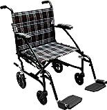 "Drive Medical Fly Lite Ultra Lightweight Transport Wheelchair, Black Frame, 19"""